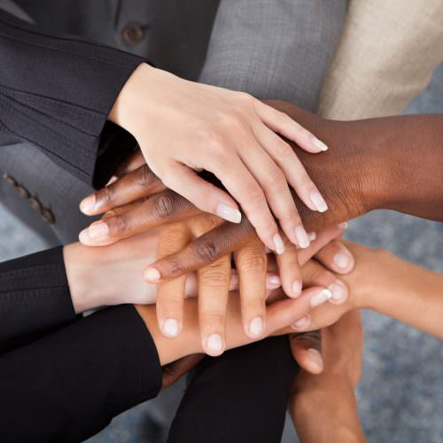 Multicultural hands showing values