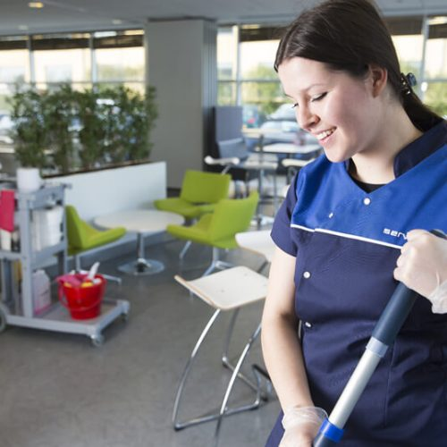 lady cleaning canteen